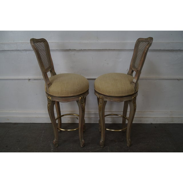French Provincial French Louis XV Style Swivel Bar Stools - Set of 3 For Sale - Image 3 of 10