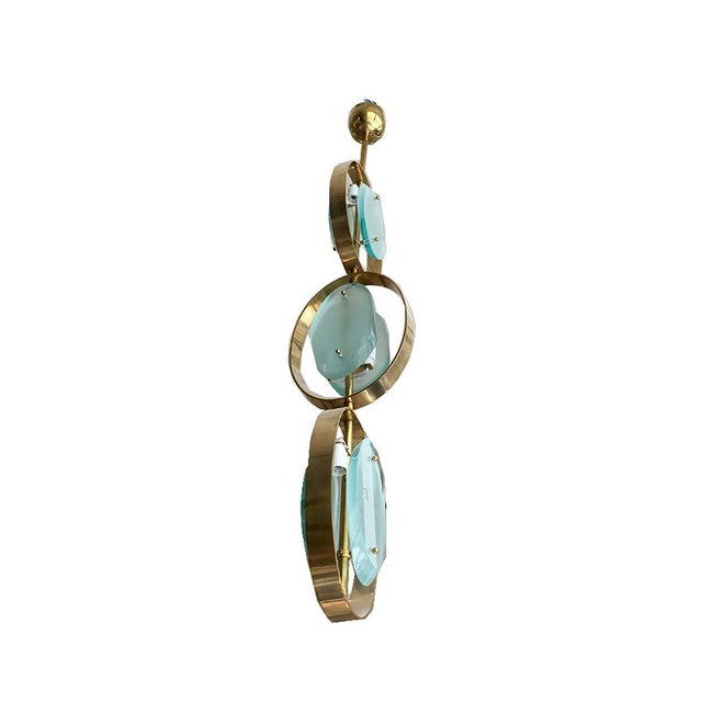Mid-century modern green Murano glass and brass frame chandelier or flush mount. Attributed to Fontana Arte, Italy. Each...