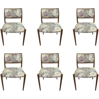 Floral Upholstered Wooden Dining Chairs - Set of 6 For Sale