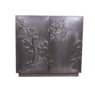 Gaetan Silver Cabinet for Storage, Designer Storage Chest for Living Room, Bed Room, Dining Room, Silver Antique Finish For Sale