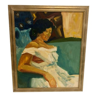 Painting of Woman in Dress For Sale