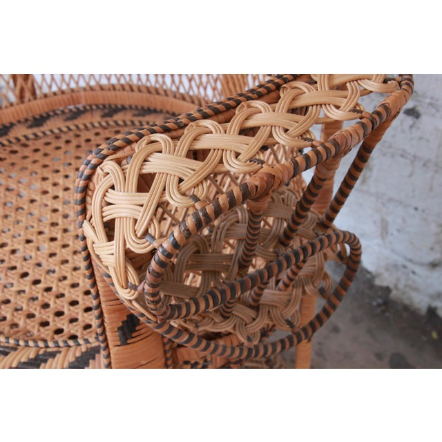 "Caning 1970s Bohemian Wicker ""Emanuelle"" Peacock Chair For Sale - Image 7 of 13"