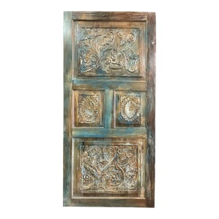 Vintage Blue Door Floral Carved Teak Wood Panel Artistic Carved Barn Door Reclaimed Farmhouse Door Panel For Sale