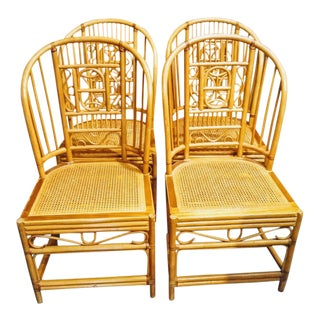 1970s Regency Brighton Pavilion Tall Back Rattan Dining Chairs - Set of 4 For Sale