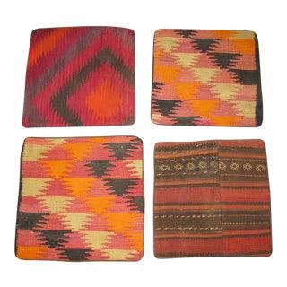 Vintage Afghan Kilim Pillow Cases- Set of 4 For Sale