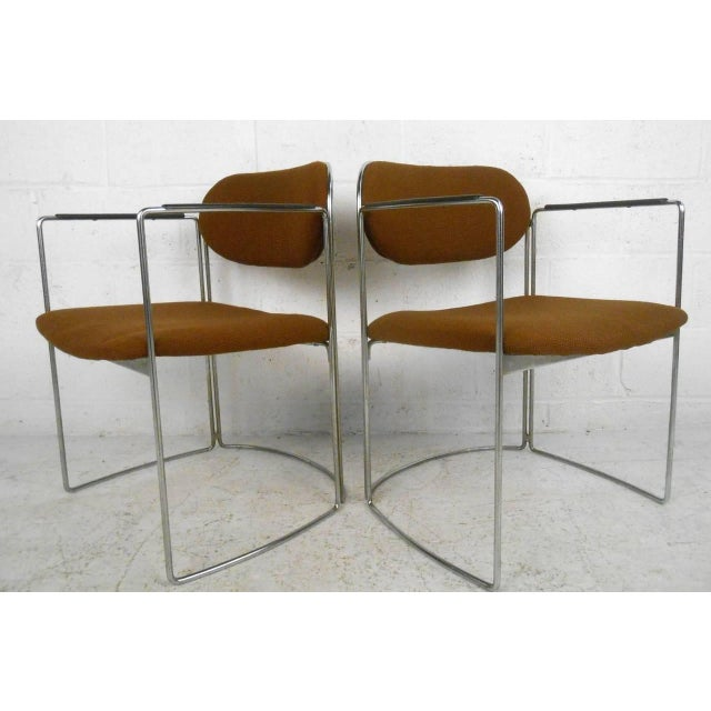 Mid-Century Chrome & Upholstery Office Armchairs - Set of 7 - Image 7 of 10