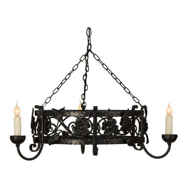 1930s French Floral Motif Large Three Light Circular Painted Iron Chandelier For Sale