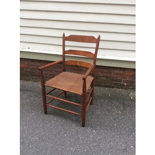 Early 19th Century Antique New England Ladder Back Arm Chair Preview