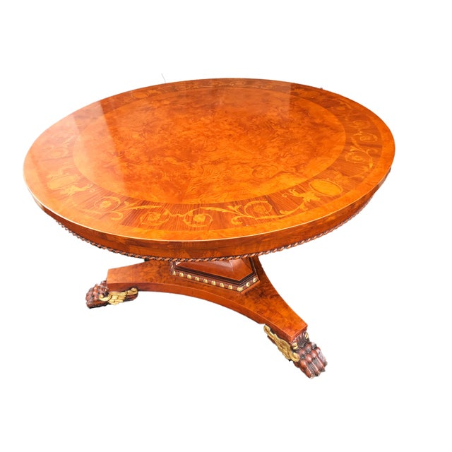 Wood French Empire Walnut Pedestal Table For Sale - Image 7 of 13