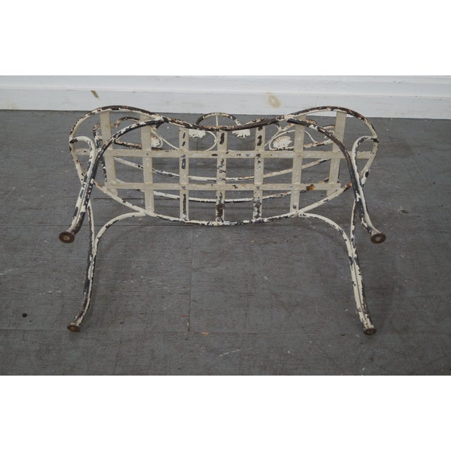 Antique French Iron Garden Patio Bench - Image 9 of 10