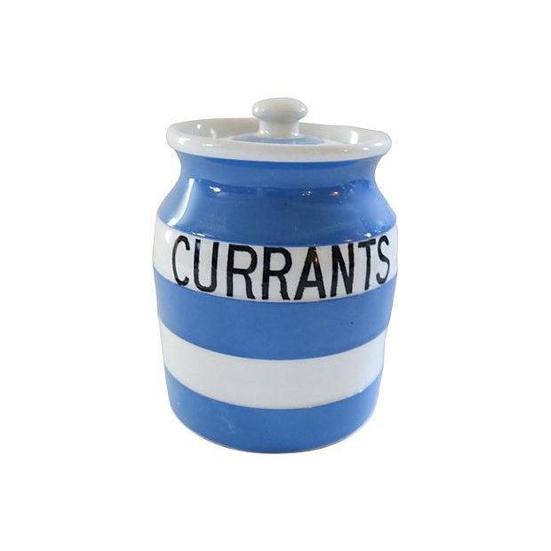 Vintage English Cornishware Currants Jar - Image 1 of 3