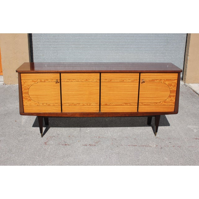 Beautiful French art deco exotic mahogany sideboard / Buffet / Bar, the sideboard are in very good condition ,with dark...