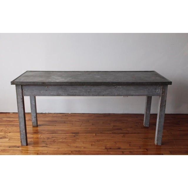 Metal Antique French Zinc Work Table For Sale - Image 7 of 7
