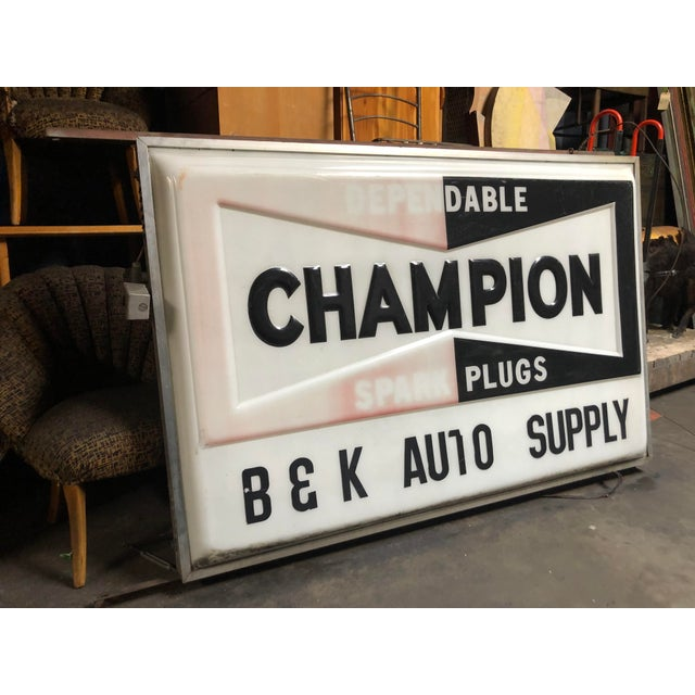 Vintage Everbrite Industrial Metal-Framed Double-Sided Champion Auto Supply Service Sign For Sale In Sacramento - Image 6 of 10