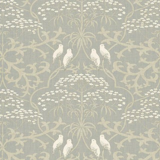 """Lewis & Wood Bella Early Gray Extra Wide 52"""" Damask Style Wallpaper Sample For Sale"""