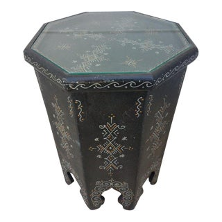 Moroccan Hexagonal Hand-Painted Black Side Table For Sale
