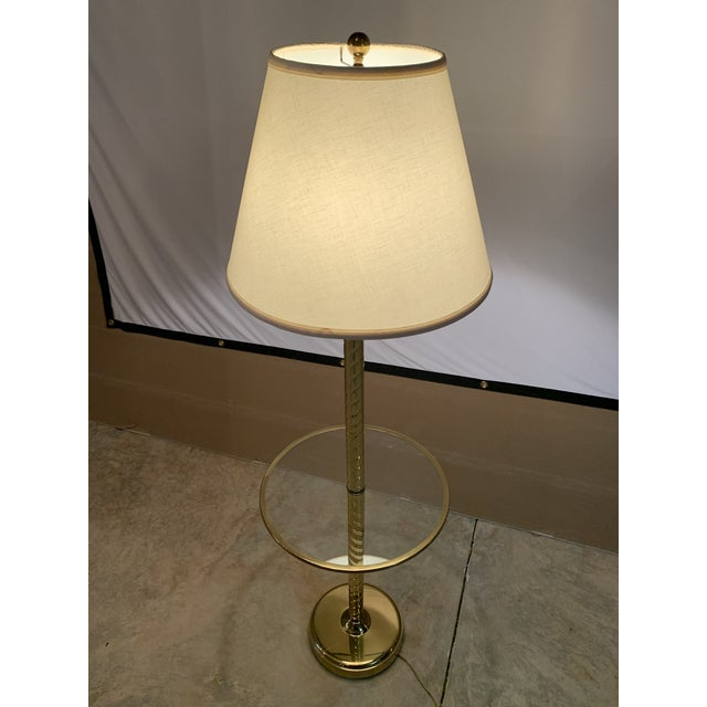 Metal Vintage Hollywood Regency Twisted Brass and Glass Floor Lamp and Table With White Linen Shade For Sale - Image 7 of 11