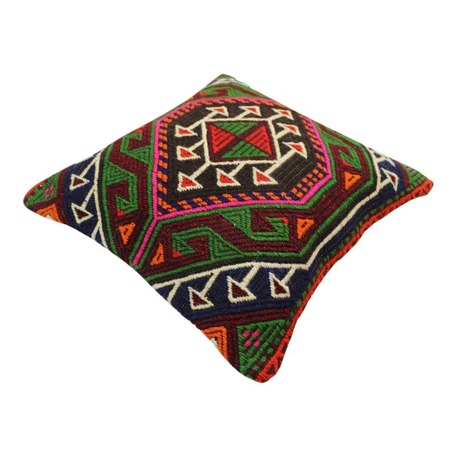 Vintage Turkish Kilim Wool Rug Pillow Case For Sale