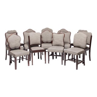 Collection of Fourteen Chinese Deco Rosewood Dining Chairs For Sale