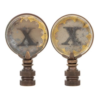X Monogram Lamp Finials - a Pair For Sale