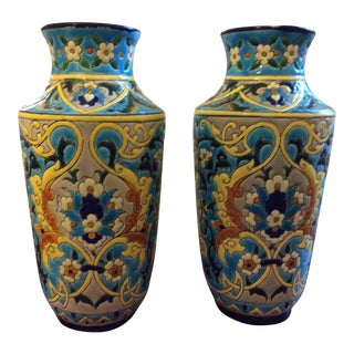19th Century French Enameled Longwy Vases - a Pair For Sale