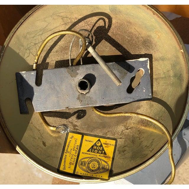Metal Vintage Moe Light Crackled Etched Glass Pendant Globe Light For Sale - Image 7 of 8