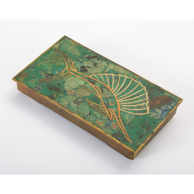 Mexican Brass Box With Resin Inlay Fish For Sale - Image 12 of 12