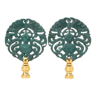 Stone Gourd Lamp Finials - a Pair For Sale
