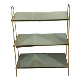 1970s Vintage Brass & Mirrored Glass Etagere For Sale