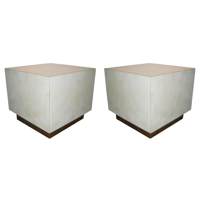 Mid Century Cube End Table Baughman Style - Pair - Image 1 of 4