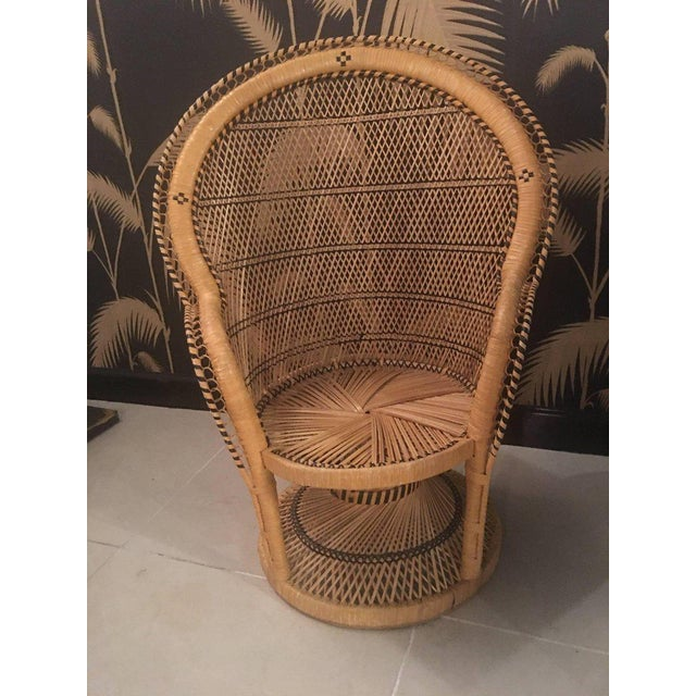 Rattan Wicker Peacock Children's Dining Table Chairs Set For Sale - Image 4 of 12