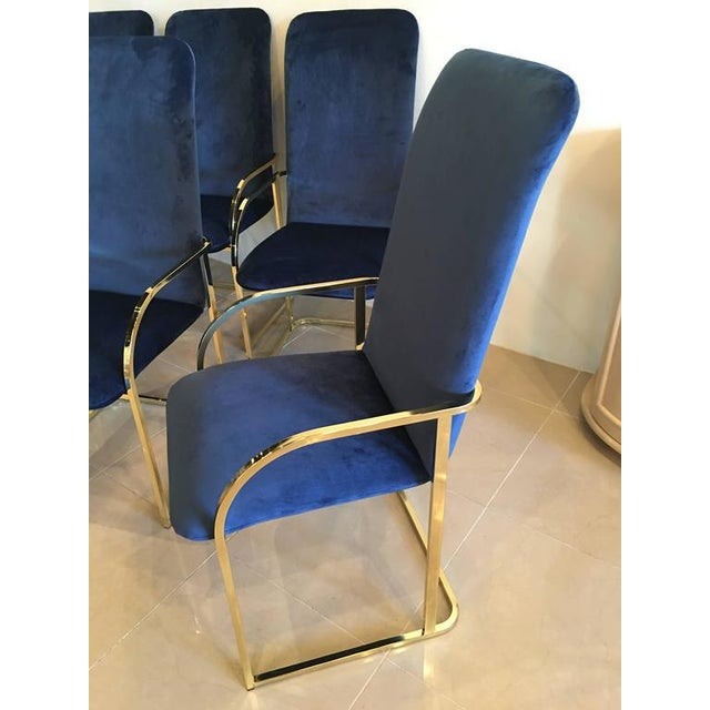 Hollywood Regency DIA Brass Navy Velvet Dining Arm Chairs - Set of 12 For Sale - Image 3 of 9