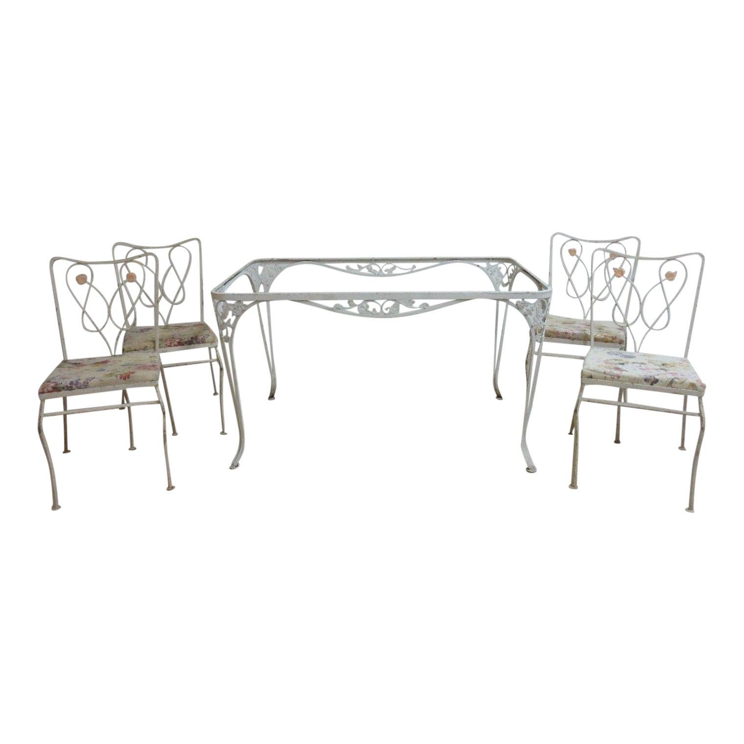 Vintage Woodard Outdoor Patio Metal Dining Set Chairish