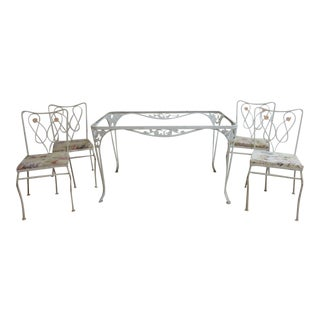 Vintage Woodard Outdoor Patio Metal Dining Set For Sale