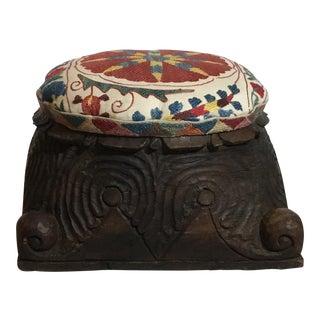 Wood Carved Suzani Footstool