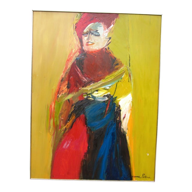 1970s Vintage Suzanne Peters Expressionist Style Portrait Oil on Board Painting For Sale