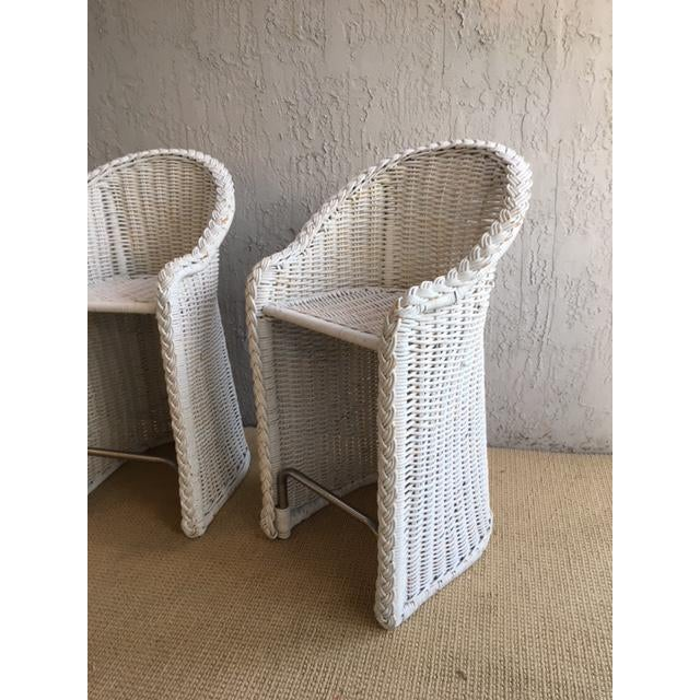 Boho Chic Woven Rattan Bar Stools - a Pair For Sale - Image 3 of 9