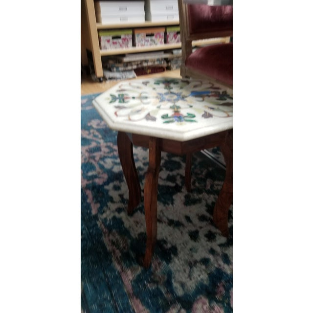 Off-white Vintage Hardstone Inlaid Marble Top Octagonal Side Table For Sale - Image 8 of 12