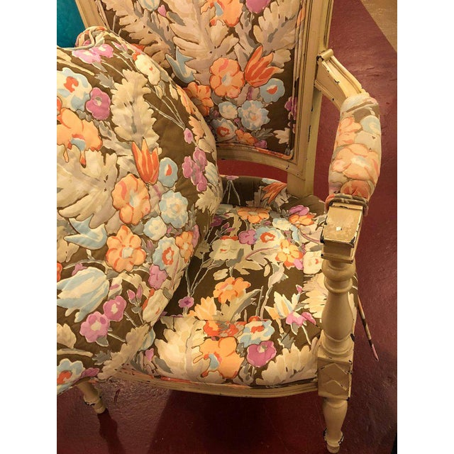 Paint Decorated Maison Jansen Fauteuils with Attractive Fabric - a Pair For Sale In New York - Image 6 of 11