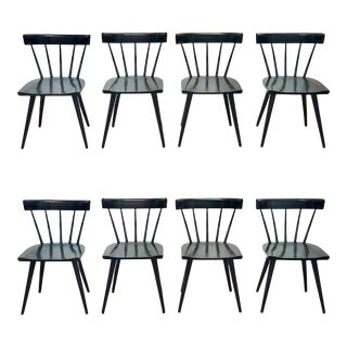 Set of 8 Black Lacquered Paul McCobb Dining Chairs For Sale