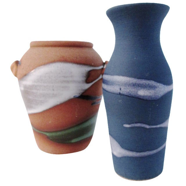 Free-Form Studio Pottery Vases - A Pair - Image 1 of 8