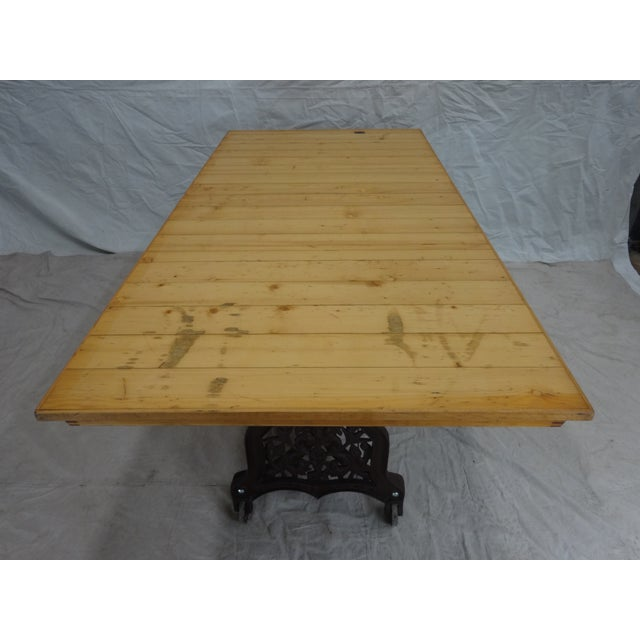 Swedish Antique Iron Base Dining Table For Sale - Image 4 of 5