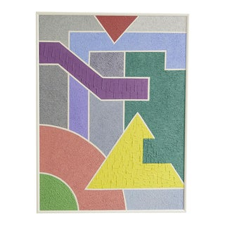 1988 Art Deco Revival Style Geometric Mixed-Media Painting by Cohn For Sale