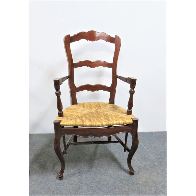 French County French Mahogany Rush Seat Arm Chairs- a Pair For Sale - Image 3 of 6