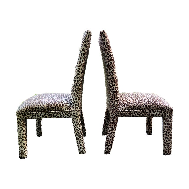 Boho Chic Leopard Print Parsons Dining Chairs - Set of 2 For Sale - Image 3 of 9
