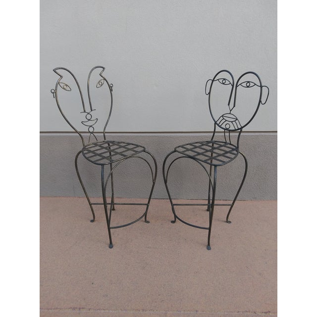 John Risley Style Sculptural Figural Wrought Iron Bar Stools - a Pair For Sale In Miami - Image 6 of 13