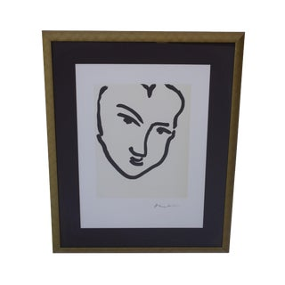 Framed Black and White Contour Drawing Print by Matisse For Sale