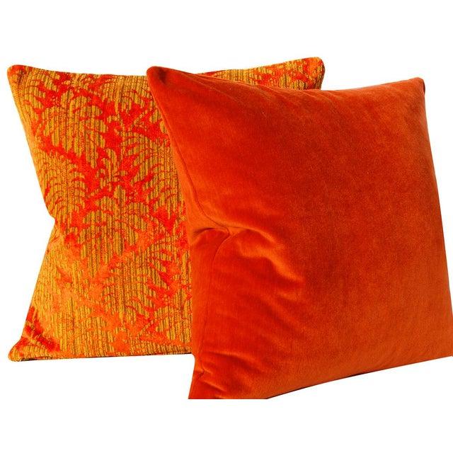Orange and Gold Damask Vintage Velvet Pillow Cover For Sale - Image 4 of 6