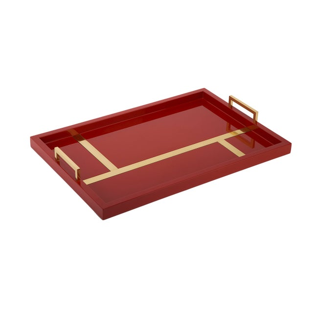 The Lacquer Company Righe Tray in Cinnabar / Brass - Flair Home for The Lacquer Company For Sale - Image 4 of 4