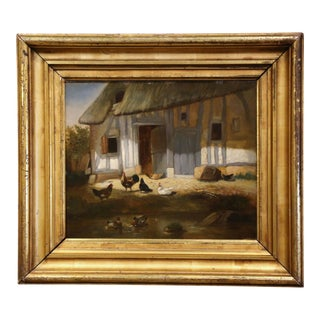 Mid-19th Century French Oil on Board Chicken Painting in Carved Gilt Frame For Sale